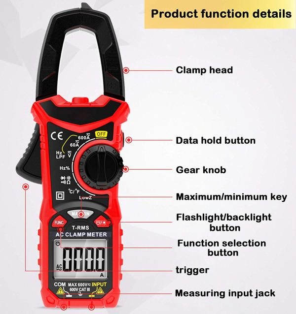 Digital Clamp Meter 6000 Counts True RMS NCV AC/DC Voltage and AC Current Resistance Capacitance Frequency Tester 2