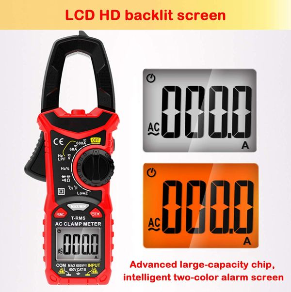 Digital Clamp Meter 6000 Counts True RMS NCV AC/DC Voltage and AC Current Resistance Capacitance Frequency Tester 4
