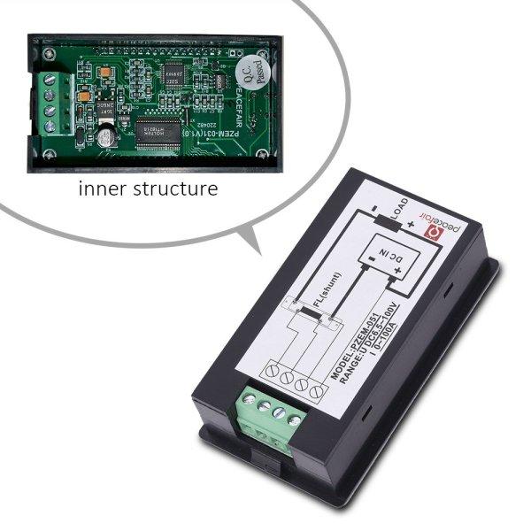 Digital Multimeter DC 6.5-100V 0-100A LCD Display Ammeter Voltmeter Multimeter Volt Watt Power Energy Meter with 100A 75mV Shunt 3