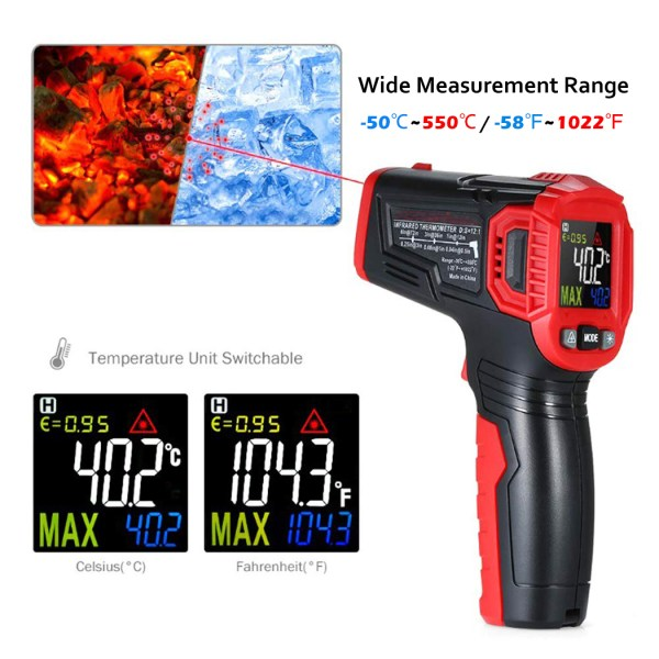 Infrared Thermometer Tester, Non-Contact IR Digital Temperature Gun for Range -50°C~550°C / -58°F~1022°F with Adjustable Emissivity, Color LCD Screen, Alarm Setting 3