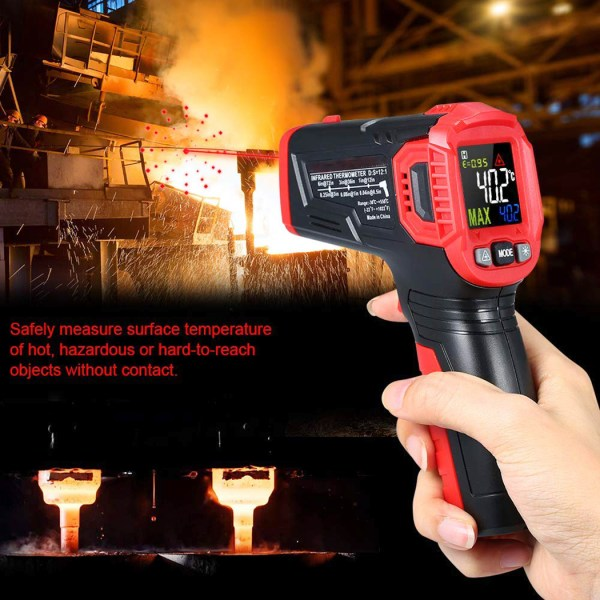 Infrared Thermometer Tester, Non-Contact IR Digital Temperature Gun for Range -50°C~550°C / -58°F~1022°F with Adjustable Emissivity, Color LCD Screen, Alarm Setting 5