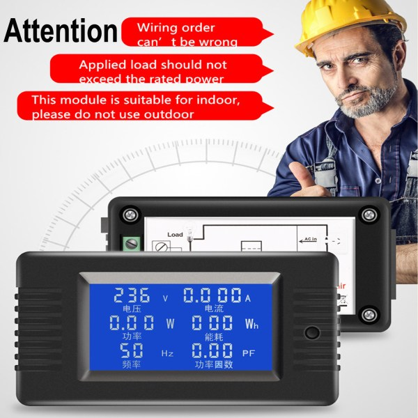 AC Digital Meter AC 80-260V 100A Current Voltage Power Energy Panel Monitor Detector LCD Digital Display Ammeter Voltmeter Multimeter with Split Core Current Transformer CT 7