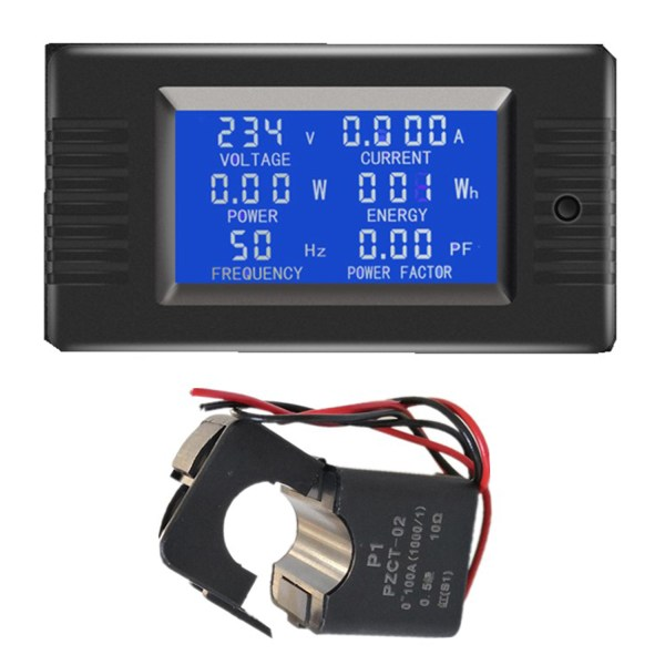 AC Digital Meter AC 80-260V 100A Current Voltage Power Energy Panel Monitor Detector LCD Digital Display Ammeter Voltmeter Multimeter with Split Core Current Transformer CT 1