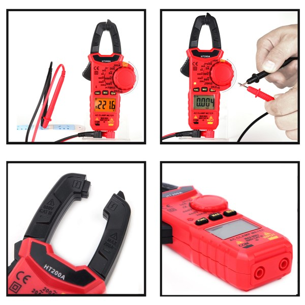 Digital Clamp Meter for AC/DC Voltage, AC Current, Resistance, Continuity, Diode Mini Multi Meter 4