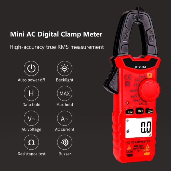 Digital Clamp Meter for AC/DC Voltage, AC Current, Resistance, Continuity, Diode Mini Multi Meter 8