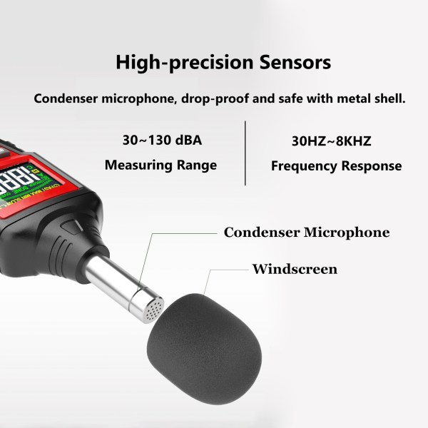 Decibel Meter, Digital Sound Level Meter 30-130dB(A) Range with Max/Min/Data Hold, Fast/Slow Mode ect. Auto/Manual Range 3