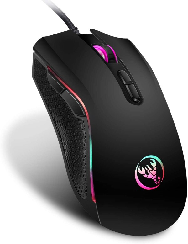 HXSJ A869 Wired Gaming Mouse, 7 Programmable Buttons, 7 Bright Colors LED and Ergonomics Design 2