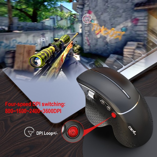 HXSJ T32 2.4GHz Wireless Mouse Optical Wireless Gaming Vertical Mute Mice 6 Keys, Four-Speed DPI Adjustable 7