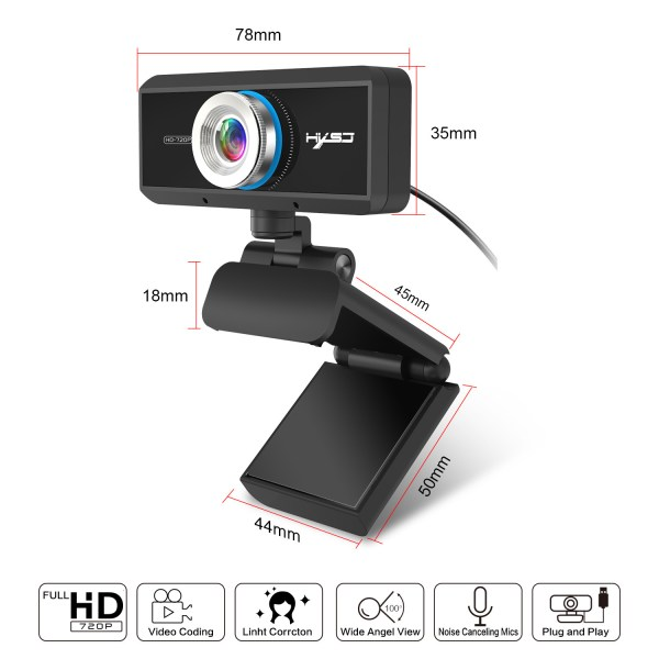 HD 720P Computer Camera, Laptop PC Webcam with Sound Absorbing Microphone 5