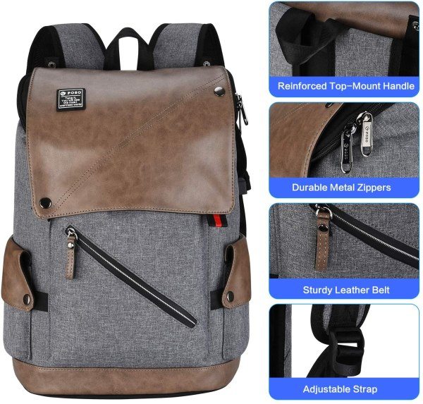 POSO Laptop Backpack 15.6 Inch Water-Repellent Computer Bag with USB Charging Port for Men Women 7