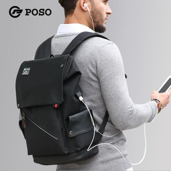 POSO Laptop Backpack 15.6 Inch Water-Repellent Computer Bag with USB Charging Port for Men Women 5