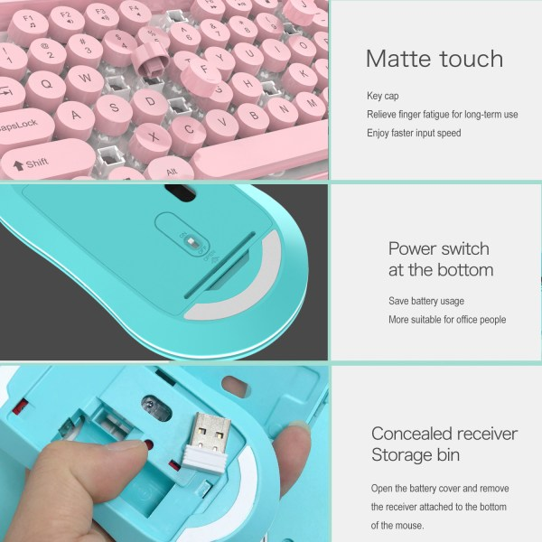 2.4G Wireless Keyboard and Mouse Combo Punk Keycap 77 Keys 6