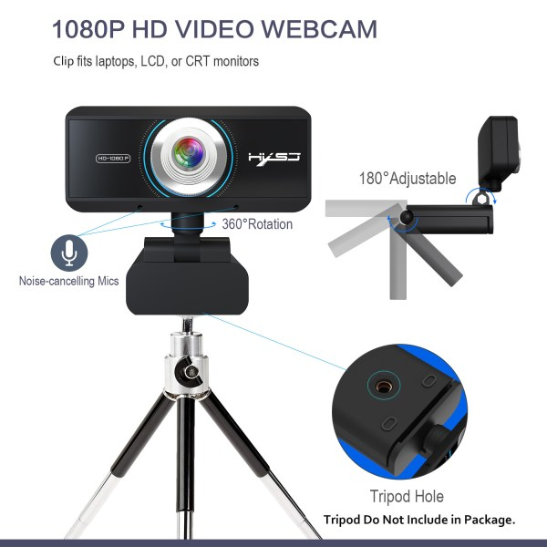 HD 1080P Computer Camera, Laptop PC Webcam with Sound Absorbing Microphone 4