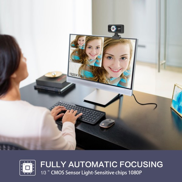 HD 1080P Computer Camera, Laptop PC Webcam with Sound Absorbing Microphone 6