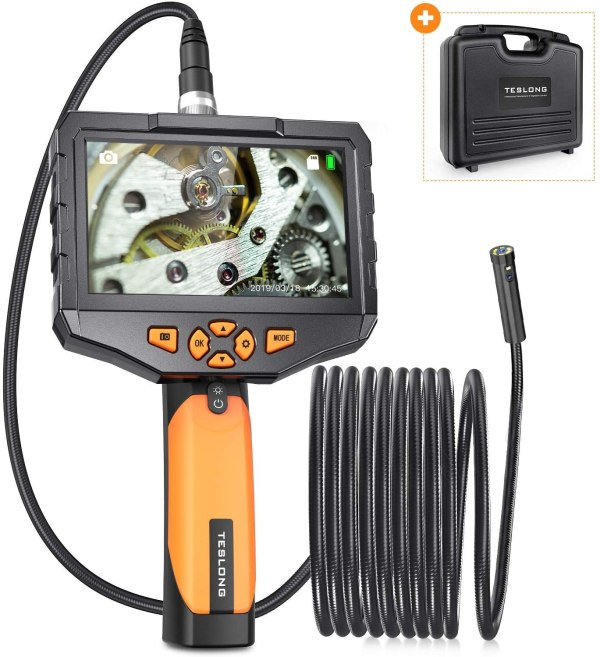 """Dual Lens Borescope 4.5"""" Screen Endoscope Inspection Camera with 8mm Side-View Camera and Direct-View Camera (16.4ft Probe) 1"""