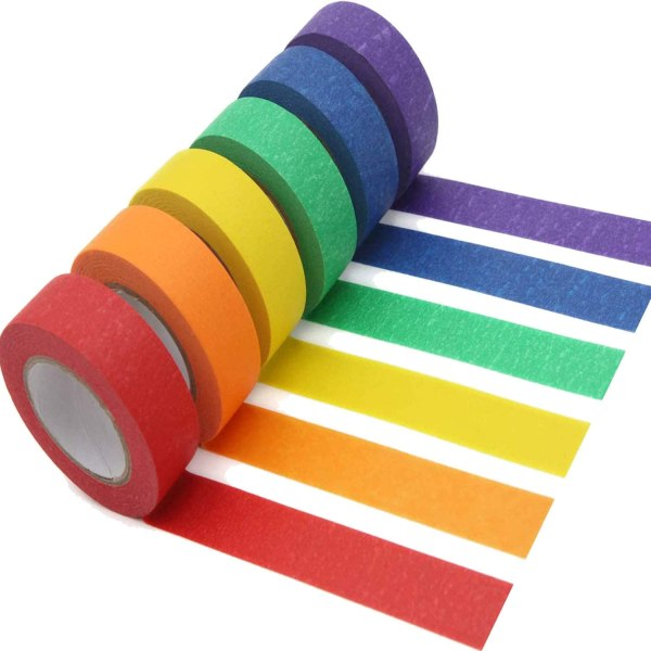 Colored Masking Tape 6 Pack 1 Inch x 13 Yards (2.4cm X 12m) Colorful Paper DIY Decorative Stickers Tape Fun Rainbow Masking Tapes 1