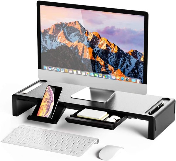 Monitor Stand Riser Foldable Computer Monitor Riser Adjustable Height with Storage Drawer & Pen Slot, Phone Stand 1