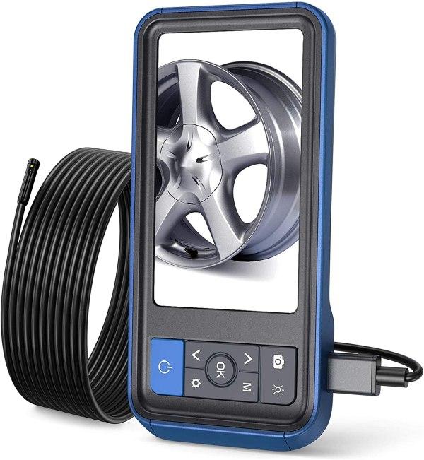 "Inspection Camera 1080p Dual Lens 4.5"" Screen Endoscope with 32GB Memory Card, 16.4ft Waterproof Semi-Rigid Tube Industrial Borescope 1"
