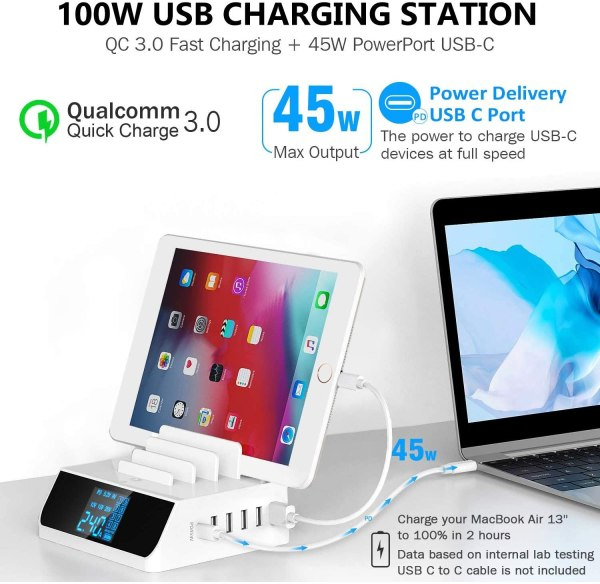 USB C PD 45W Charging Station, 100W 6-Port Desktop Charger Hub Dock for iPad iPhone MacBook Android Phone Tablets Laptop 3