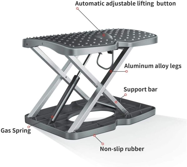 "Adjustable Footrest Under Desk Support Footstool Ergonomic Foot Rest 16.5"" x 11.4"" with Massage Textured Surface 2"