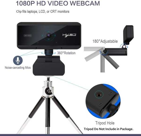 Webcam 1080P HD 5 Million Pixels Auto Focus Streaming Computer Laptop Camera USB PC Web Cam with Microphone Plug and Play 5