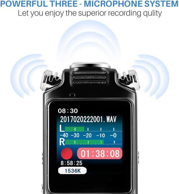 Digital Voice Recorder 16GB with Variable Playback Speed, Sound Recorder, Ultra-Sensitive Microphones, MP3 Player, Noise Reduction Audio Recording 4