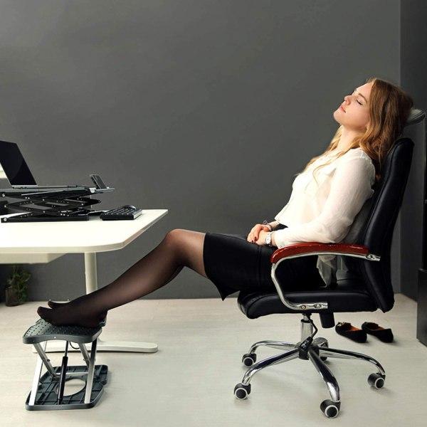 "Adjustable Footrest Under Desk Support Footstool Ergonomic Foot Rest 16.5"" x 11.4"" with Massage Textured Surface 4"