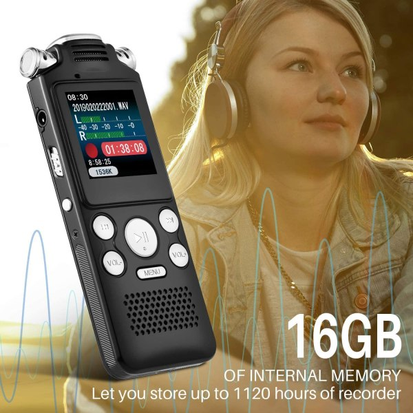 Digital Voice Recorder 16GB with Variable Playback Speed, Sound Recorder, Ultra-Sensitive Microphones, MP3 Player, Noise Reduction Audio Recording 5