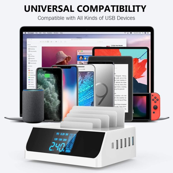 USB C PD 45W Charging Station, 100W 6-Port Desktop Charger Hub Dock for iPad iPhone MacBook Android Phone Tablets Laptop 4
