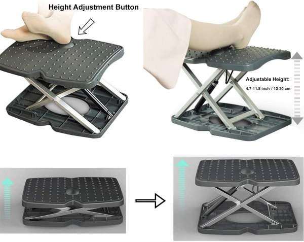 "Adjustable Footrest Under Desk Support Footstool Ergonomic Foot Rest 16.5"" x 11.4"" with Massage Textured Surface 6"