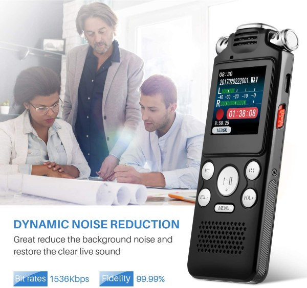 Digital Voice Recorder 16GB with Variable Playback Speed, Sound Recorder, Ultra-Sensitive Microphones, MP3 Player, Noise Reduction Audio Recording 7