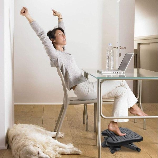 Adjustable Foot Rest Ergonomic Under Desk Footrest with 3 Height Position 30 Degree Tilt Angle Non-Skid Massage Surface Texture 7