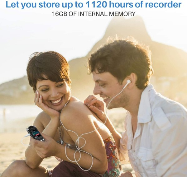Digital Voice Recorder 16GB with Variable Playback Speed, Sound Recorder, Ultra-Sensitive Microphones, MP3 Player, Noise Reduction Audio Recording 8