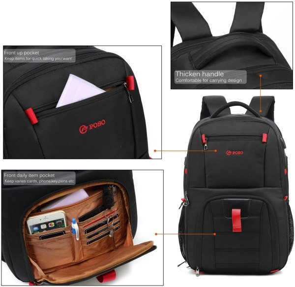 Laptop Backpack 17.3 Inch Computer Bag With USB Port Water-resistant Business Rucksack Hiking Knapsack Multi-compartment Men Backpack 6