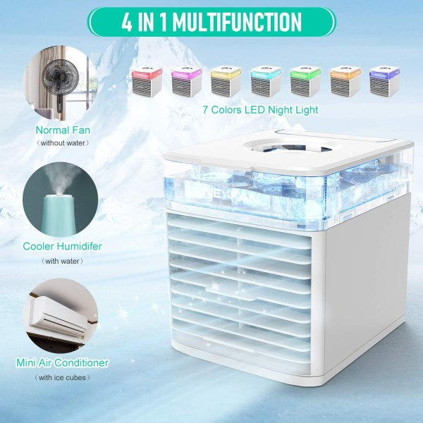 Portable Air Cooler Mini USB Air Conditioner with 3 Speeds and 7 Colors Night Light 2
