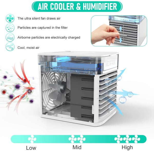 Portable Air Cooler Mini USB Air Conditioner with 3 Speeds and 7 Colors Night Light 4