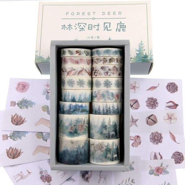 16 Rolls Washi Masking Tape Set Watercolor Forest Deer Design for Traveler Notebook, Journal, Scrapbook, Crafting, Photo Album 1