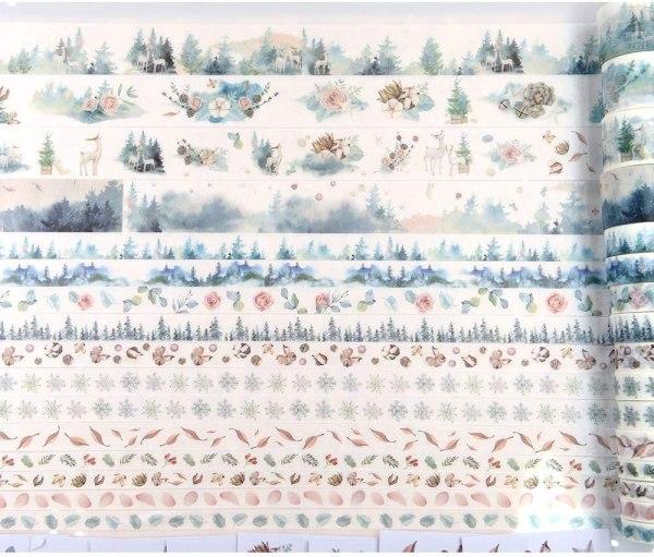 16 Rolls Washi Masking Tape Set Watercolor Forest Deer Design for Traveler Notebook, Journal, Scrapbook, Crafting, Photo Album 3