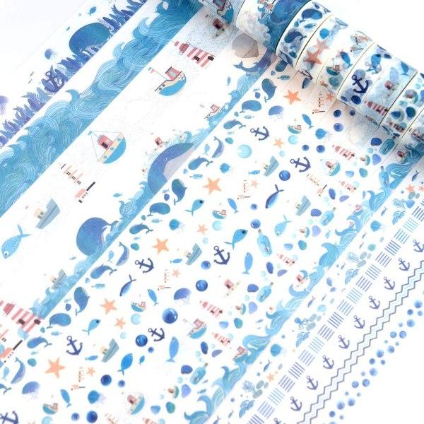 16 Rolls Washi Masking Tape Set Watercolor Blue Sea Life Design for Traveler Notebook, Journal, Scrapbook, Crafting, Photo Album 5