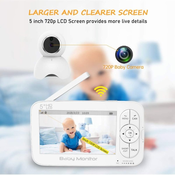 Baby Monitor, 720P 5 Inch HD Display Video Baby Monitor with Camera and Two Way Audio, Auto Night Vision 2