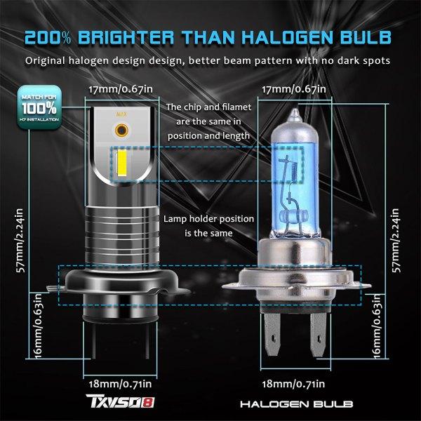 LED Headlight Bulbs H7 6000 K Cold White Headlight Conversion Kit All in One Model 3