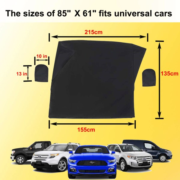 Windshield Cover with Magnet for Snow, Leaves, Rain, Frost, Larger Size (85''x61'') Suit for Most Car 4