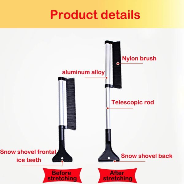"""Telescopic Snow Brush and Ice Scraper Extends and Retracts from 17"""" to 24"""" 4"""