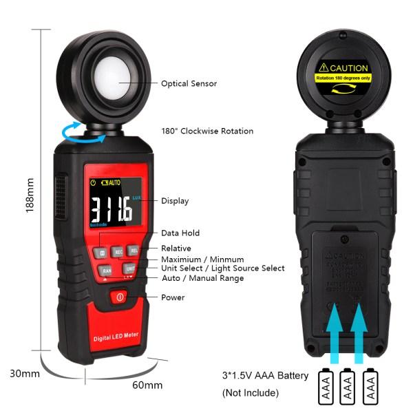 Digital Lux Light Meter Lumenmeter Lux/FC Meters Luminometer, 2000 Counts 0-200000 Lux/0-20000FC (0.01lux/0.01FC Resolution) 7