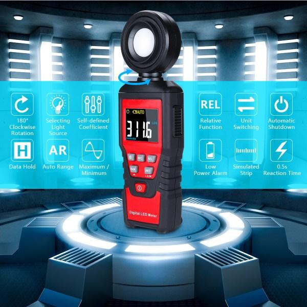 Digital Lux Light Meter Lumenmeter Lux/FC Meters Luminometer, 2000 Counts 0-200000 Lux/0-20000FC (0.01lux/0.01FC Resolution) 6