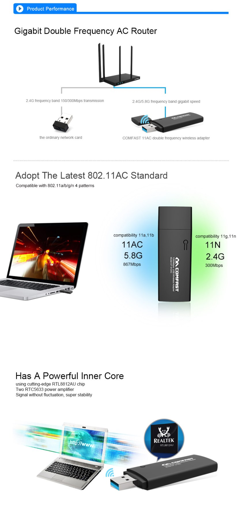 1200Mbps WiFi USB Adapter Dual band 2.4G/5.8GHz Wi fi Antenna Wifi Dongle Wireless Router wi-fi Network Card 5
