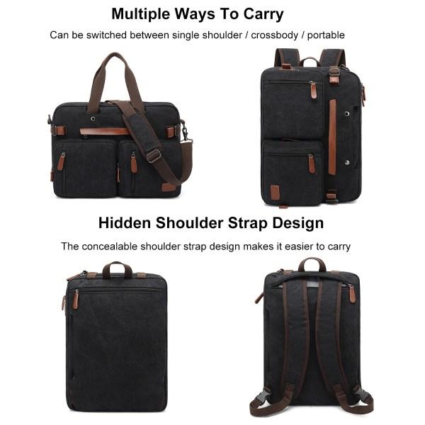 Convertible Backpack Briefcase Messenger Bag 15.6 Inch Laptop Tablet Carrying Case Shoulder Bag Waterproof 2