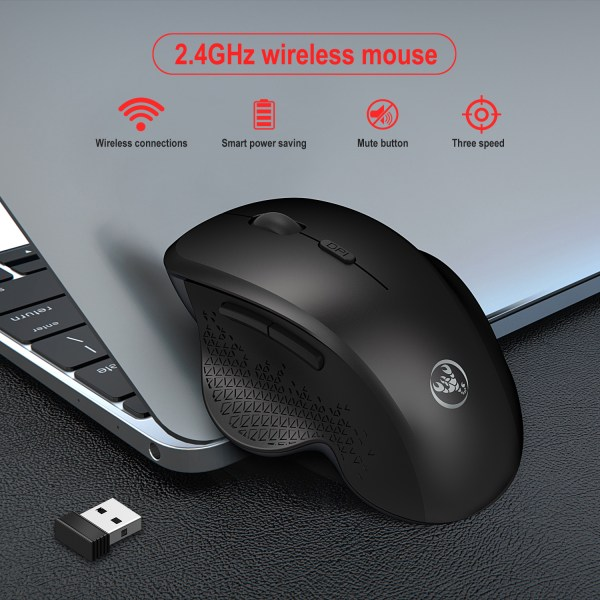 2.4GHz Wireless Mouse Optical Wireless Gaming Vertical Mute Mice 6 Keys, Three-Speed DPI Adjustable 4