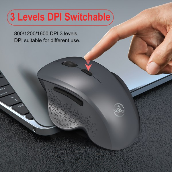 2.4GHz Wireless Mouse Optical Wireless Gaming Vertical Mute Mice 6 Keys, Three-Speed DPI Adjustable 6