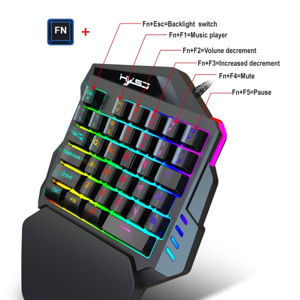 Single Handed Gaming Keyboard 35 Keys LED Backlight and Wired Gaming Mouse Combo with Breathing Light 2